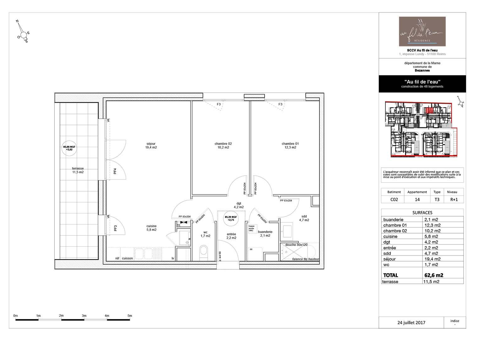 appartement C02-14 de type T3