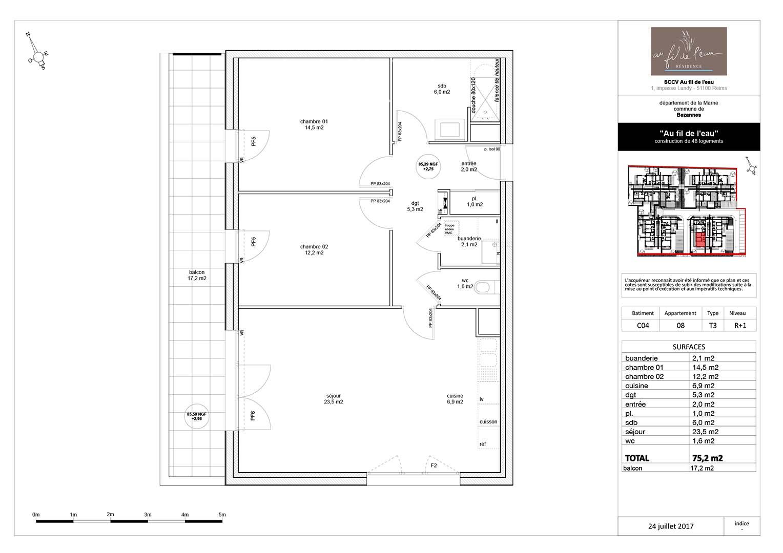 appartement C04-08 de type T3